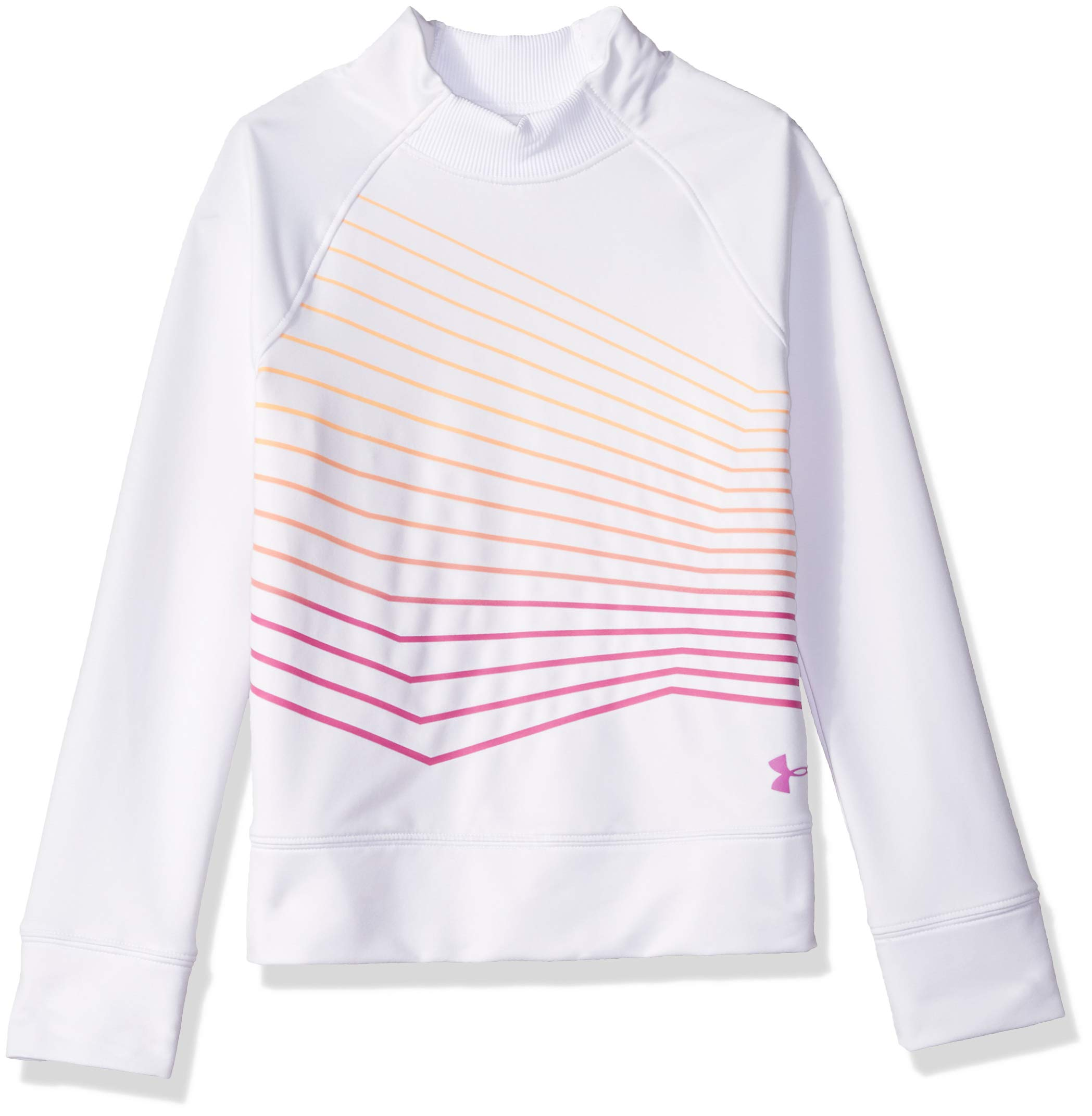 Under Armour Girls Coldgear Mock Long sleeve Sweatshirt, White (100)/Fluo Fuchsia, Youth Large by Under Armour
