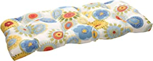 """Pillow Perfect Outdoor/Indoor Crosby Confetti Tufted Loveseat Cushion, 44"""" x 19"""", Multicolored"""