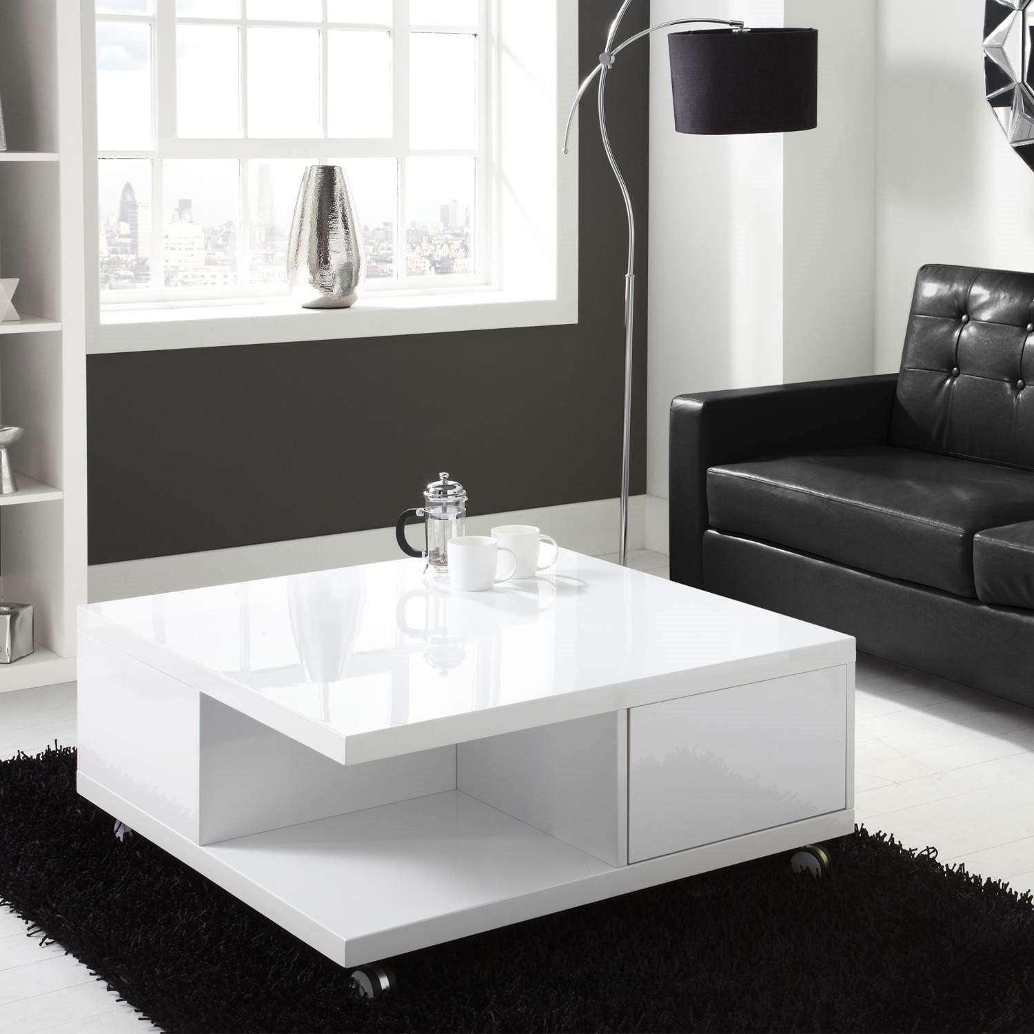 tiffany white high gloss square storage coffee table amazon co uk