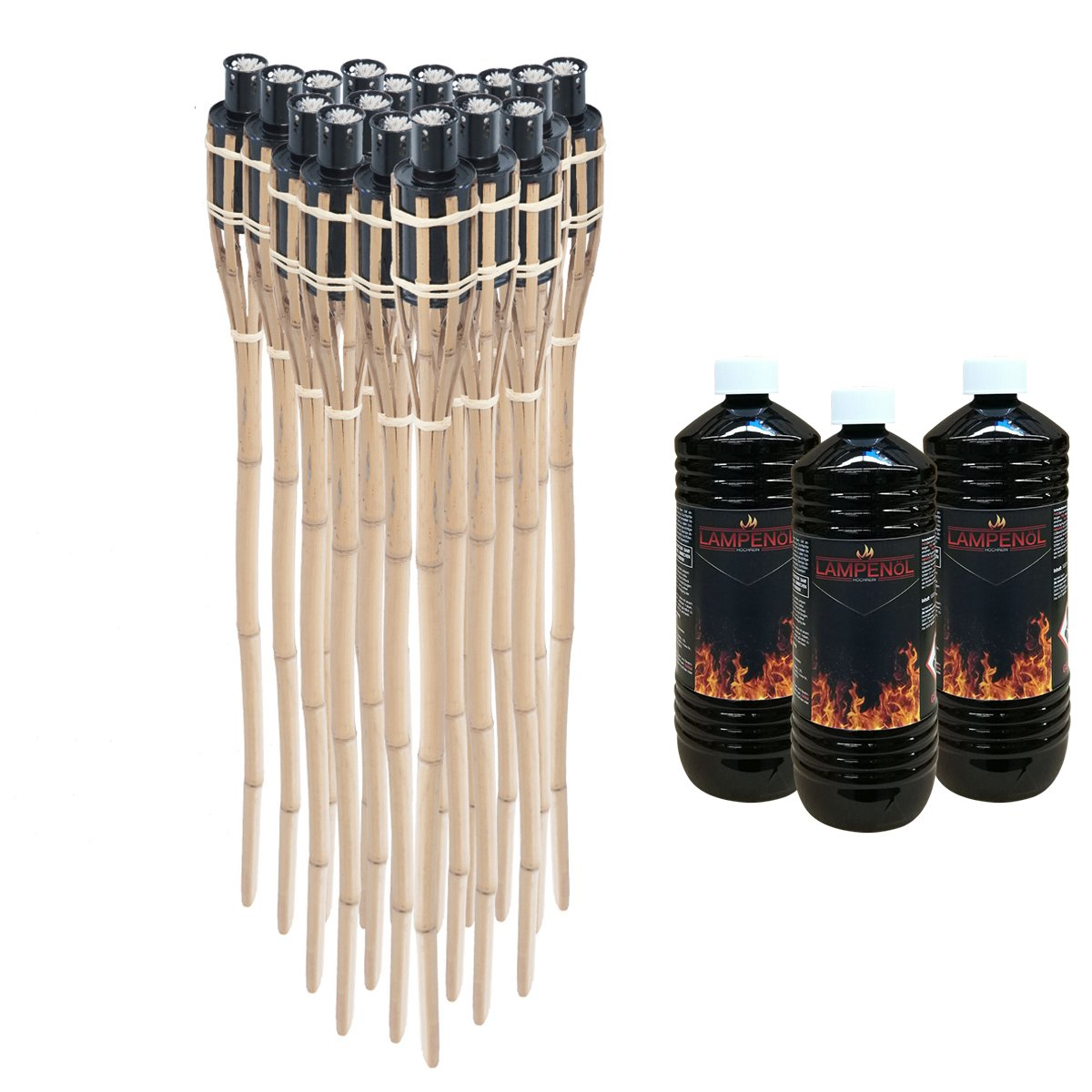 DXP 18 x Natural Handmade Bamboo Garden Tiki Torches - Oil Burning - 90 Centimeter Resuable Oil Latern for Garden Yard Party Decorations New EZH-01