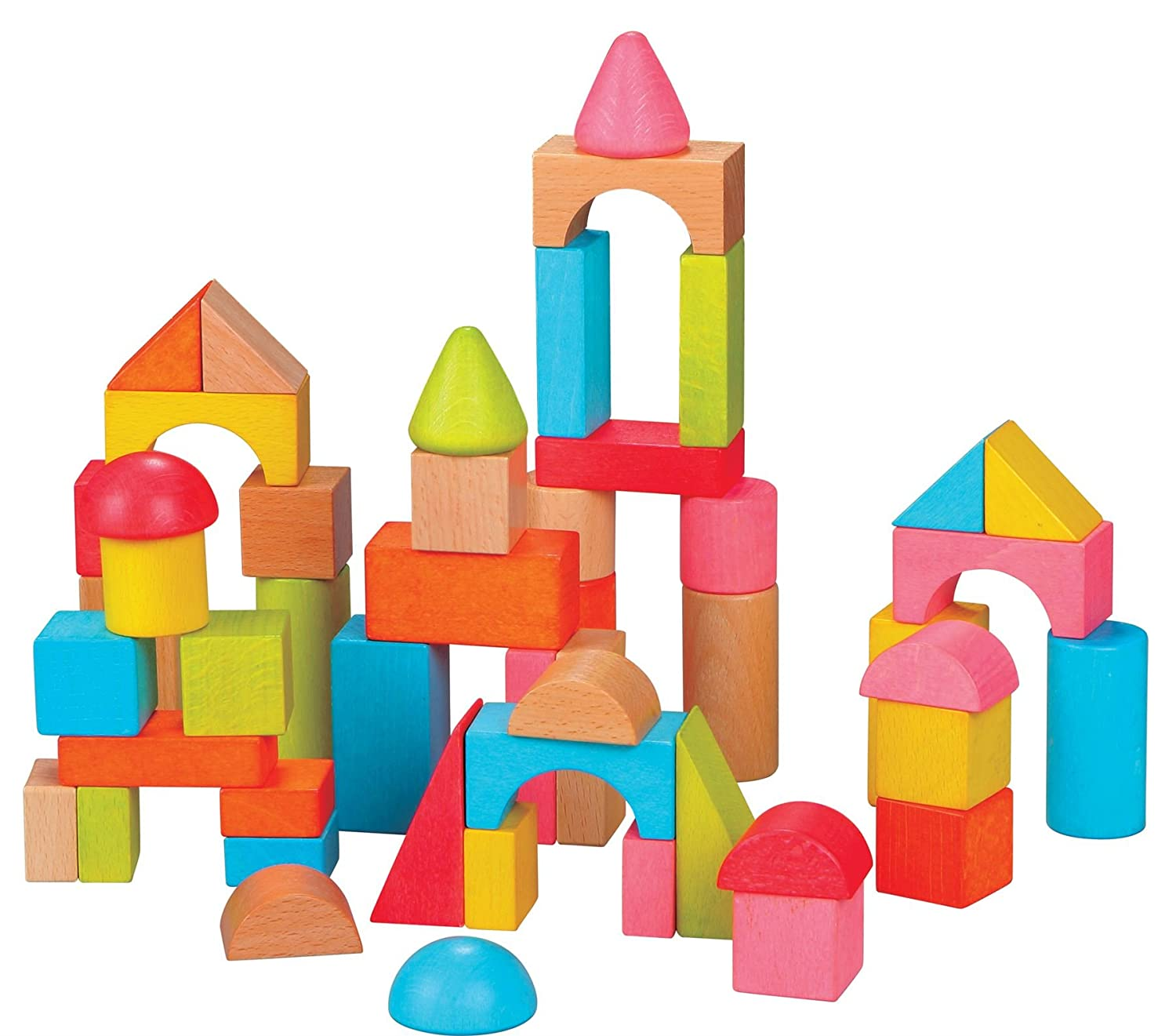 Lelin [50 Blocks] Wooden Building Shape Bricks Construction Blocks
