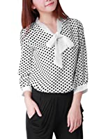 Allegra K Woman 3/4 Sleeves Tie-Bow Neck Polka Dots Prints Blouse