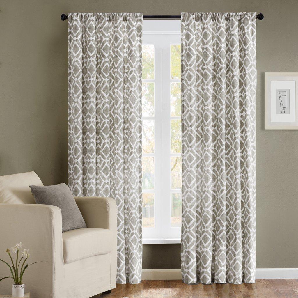 Blue geometric curtains - Amazon Com Madison Park Delray Diamond Rod Pocket Curtain Single Panel Grey Home Kitchen