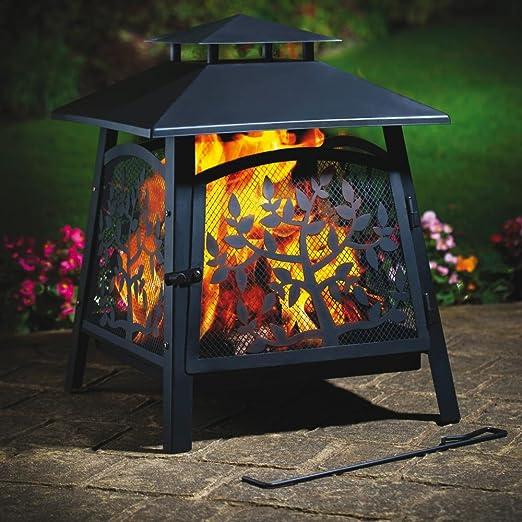 Fuego casa Saller Denver 62 x 45 x 45 cm Brasero Jardín Chimenea hoguera Terraza Protección contra chispas: Amazon.es: Jardín