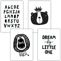 Frechdax® 4er Set Kinderzimmer Poster Babyzimmer Bilder DIN A4   Kinder Poster Junge Mädchen   Dekoration Kinderzimmer   Waldtiere Safari Skandinavisch
