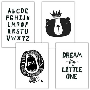 Frechdax® 4er Set Kinderzimmer Babyzimmer Poster Bilder DIN A4   Mädchen  Junge Deko   Dekoration Kinderzimmer   Waldtiere Safari Skandinavisch (4er  ...