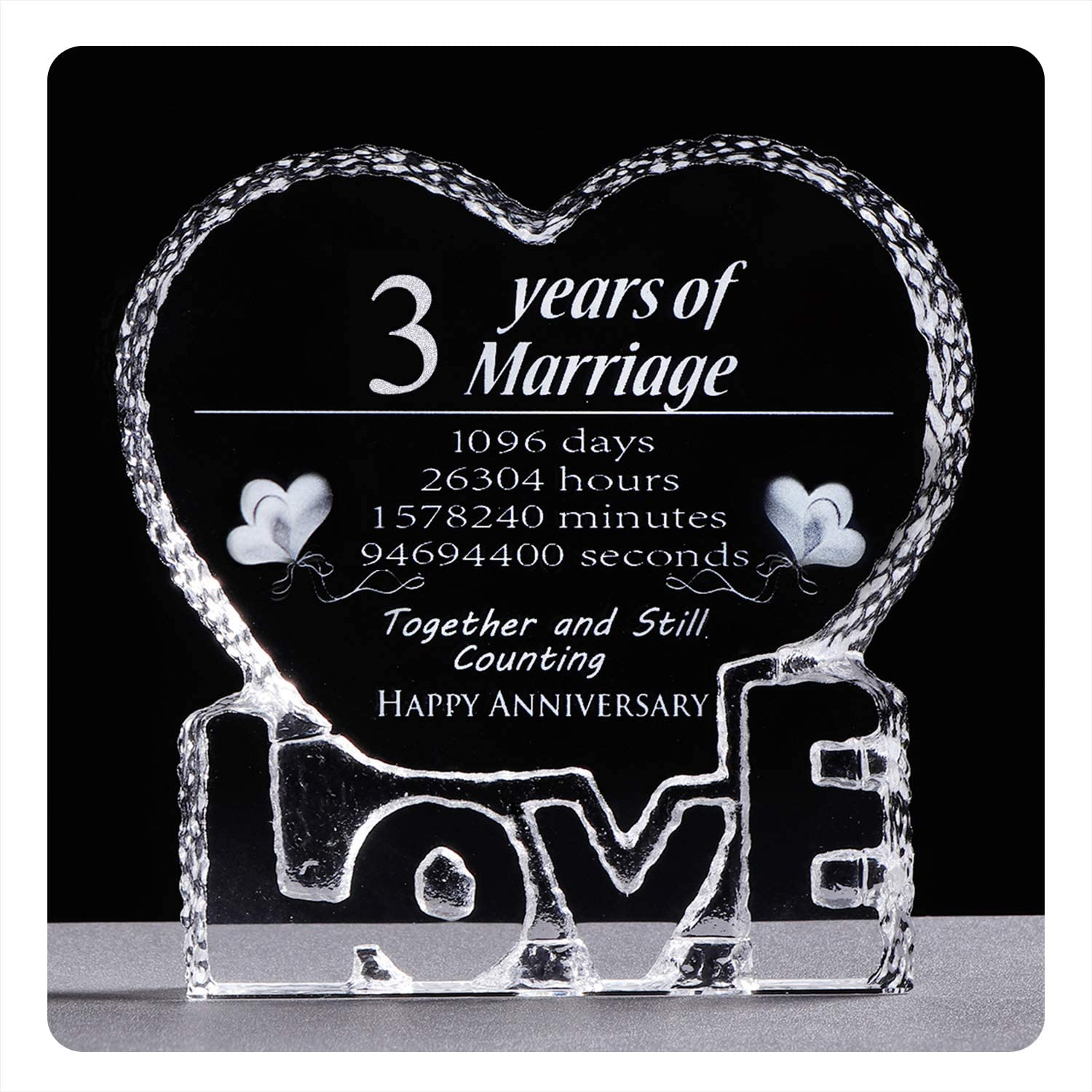 Amazon Com Ywhl 3 Year 3rd Wedding Anniversary Crystal Paperweight Sculpture Keepsake Gifts For Her Wife Girlfriend Him Husband 3 Year Office Products