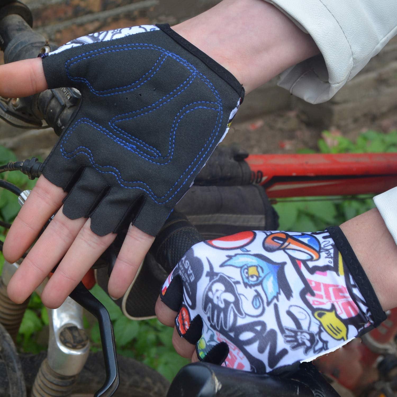 yorten Gants de Cyclisme pour Enfant Patinage /à roulettes pour Gar/çons Filles Gar/çons Filles Gants de Patinage de V/élo /à Moiti/é Doigt XS V/élo de Montagne