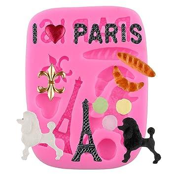 mujiang - Figura de la torre Eiffel decoración de pasteles Moldes de repostería silicona Fondant herramientas rosa: Amazon.es: Hogar