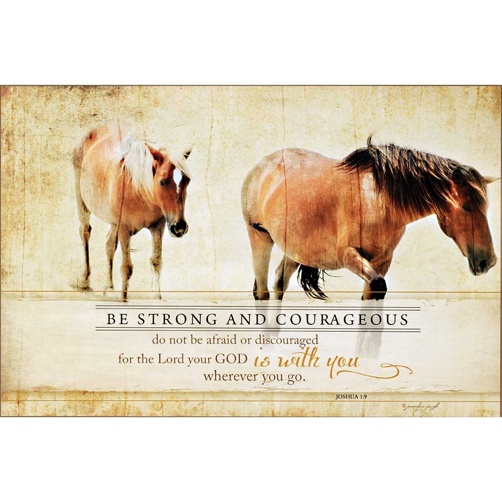 Dicksons Be Strong And Courageous Horses Golden Wheat 24 x 16 Wood Wall Sign Plaque