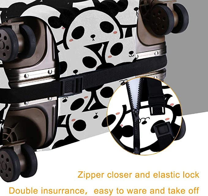 MKJIH Panda Travel Suitcase Protector Zipper Travel Luggage Cover Baggage Suitcase Protector Cover Fit 18-32 Inch