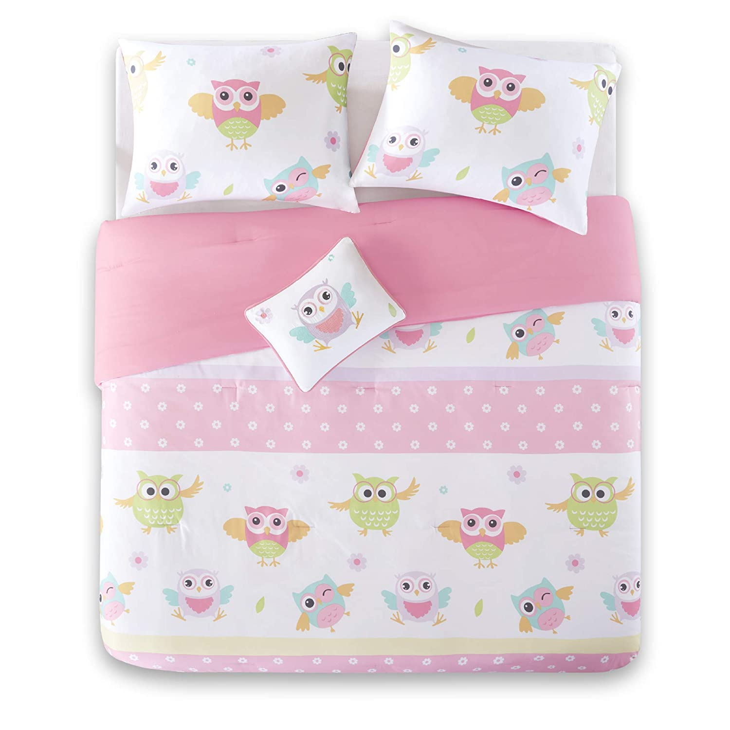 Comfort Spaces - Happy Daisy Kid Comforter Set - 3 Piece - Butterfly & Floral - Blue Pink - Twin/Twin XL Size, Includes 1 Comforter, 1 Sham, 1 Decorative Pillow