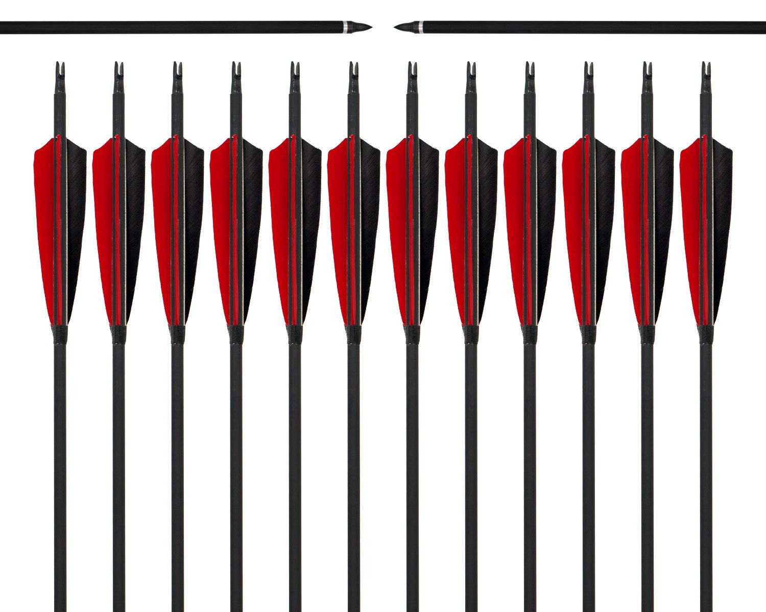 ARCHERY SHARLY 31'' Carbon Fiber Arrows Targeting Practice Arrows,5'' Black & Red Natural Feather Fletching and Replacement Screw-in Tips for Recurve Traditional Long Bow (12 Pack) by ARCHERY SHARLY (Image #1)