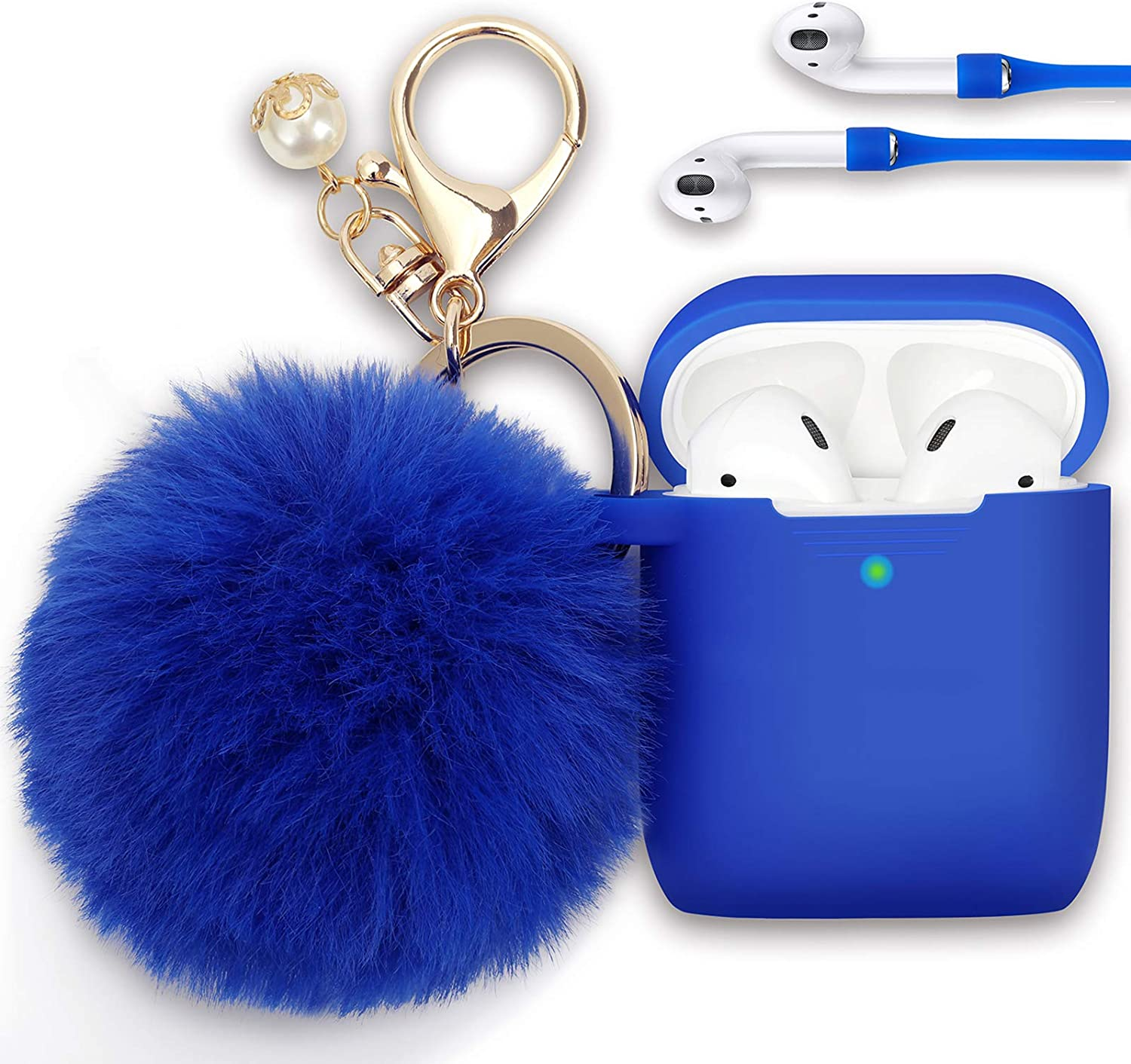 Filoto Case for Airpods, Airpod Case Cover for Apple Airpods 2&1 Charging Case, Cute Air Pods Silicone Protective Accessories Cases/Keychain/Pompom/Strap, Best Gift for Girls and Women, Cobalt Blue