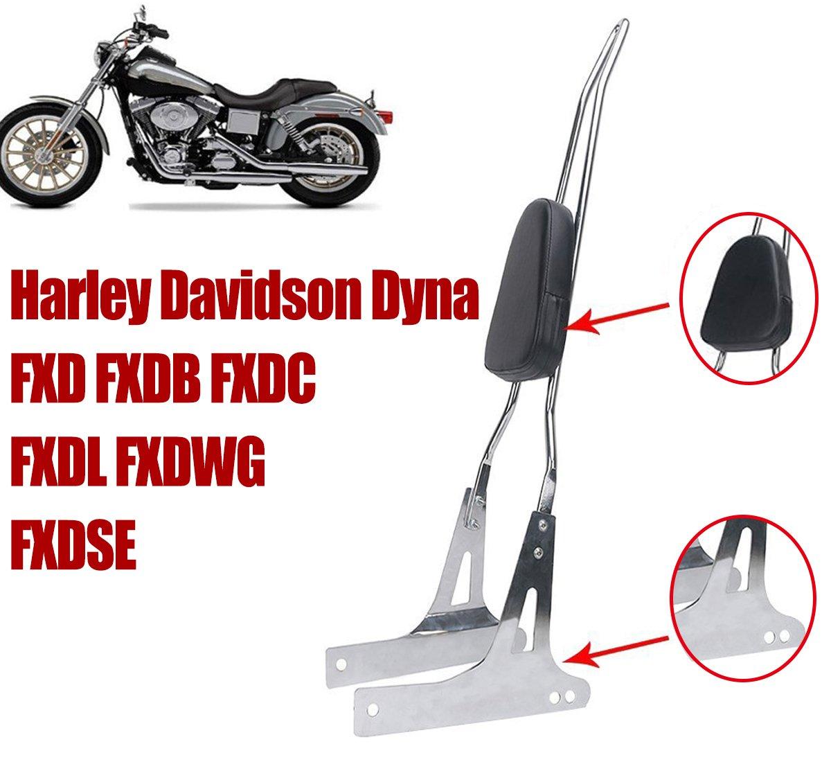 E-Most luxurious Detachable Chrome Rear Backrest Sissy Bar Pad For Harley Davidson Dyna FXD FXDB FXDC FXDL FXDWG FXDSE_1 Set
