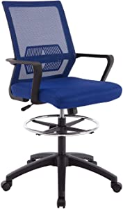 Ergonomic Mesh Office Drafting Chair - Adjustable Height with arms, Tall Office Computer Reception Desk Chair (Blue)