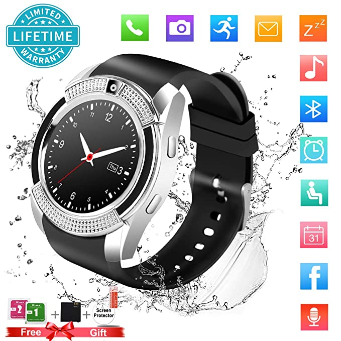 Smart Watch,Bluetooth Smartwatch Touch Screen Wrist Watch with Camera/SIM Card Slot,Waterproof Phone Smart Watch Sports Fitness Tracker Compatible ...