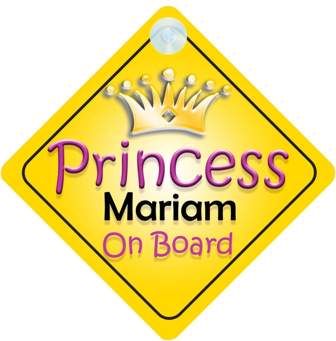 Princesse Mariam on Board Panneau Voiture Fille//Enfant Cadeau B/éb/é//Cadeau 002