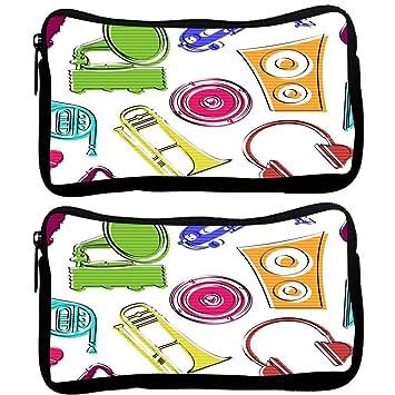 Snoogg Pack De 2 Colorido música Set - Funda de tela estudiante pluma lápiz caso bolsa de cosméticos bolsa de monedero: Amazon.es: Oficina y papelería
