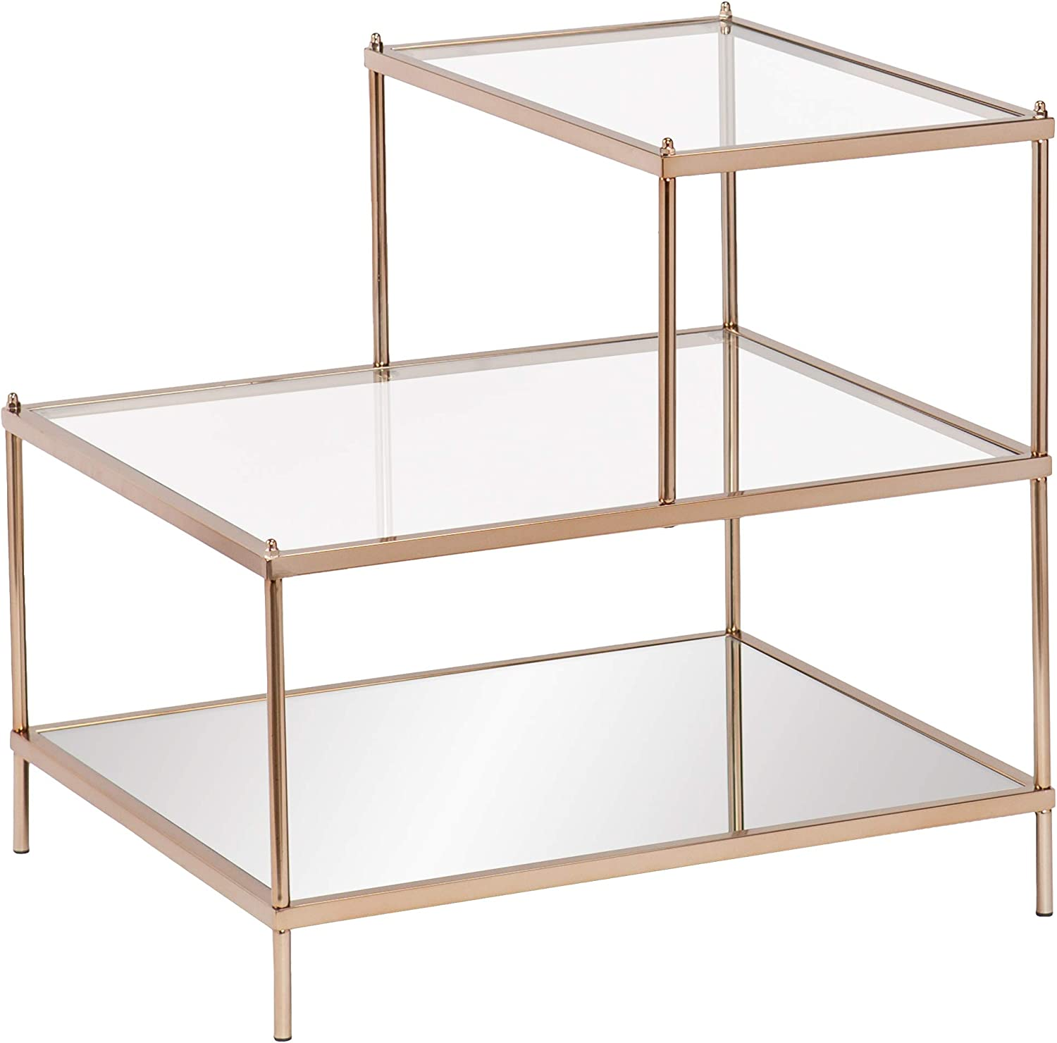 Shop Southern Enterprises Knox Mirrored 3-Tier Stair Step Accent Table from Amazon on Openhaus