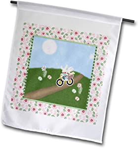 3dRose Image of Boy and Girl Bunnies on Bike on Road, Moon, Flowers, Eggs - Flags (fl_334650_1)