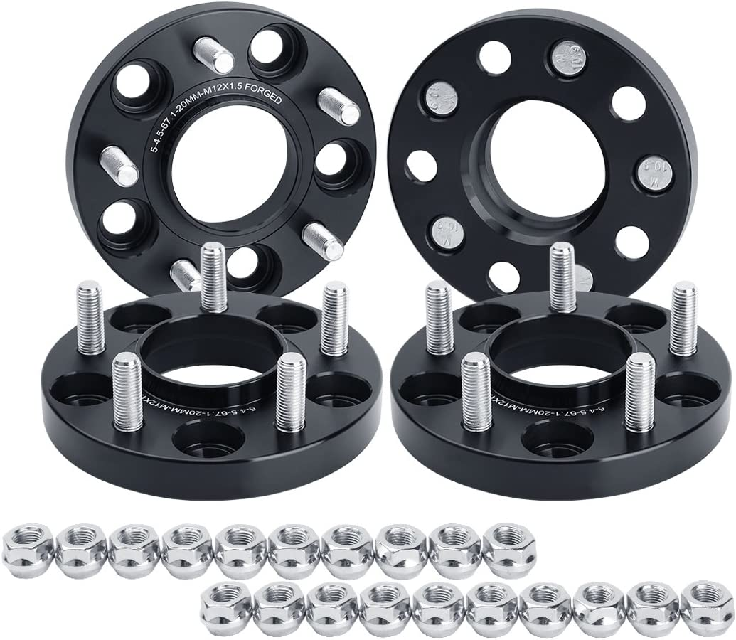dynofit 20mm 4pcs Solid Forged Wheels Spacer for Je/ep Compass 2006-2017, Patriot 2007-2017, Hyundai genesis and More, 5x4.5 Hubcentric Wheel Spacers for 5x114.3 67.1mm 12x1.5 Rims
