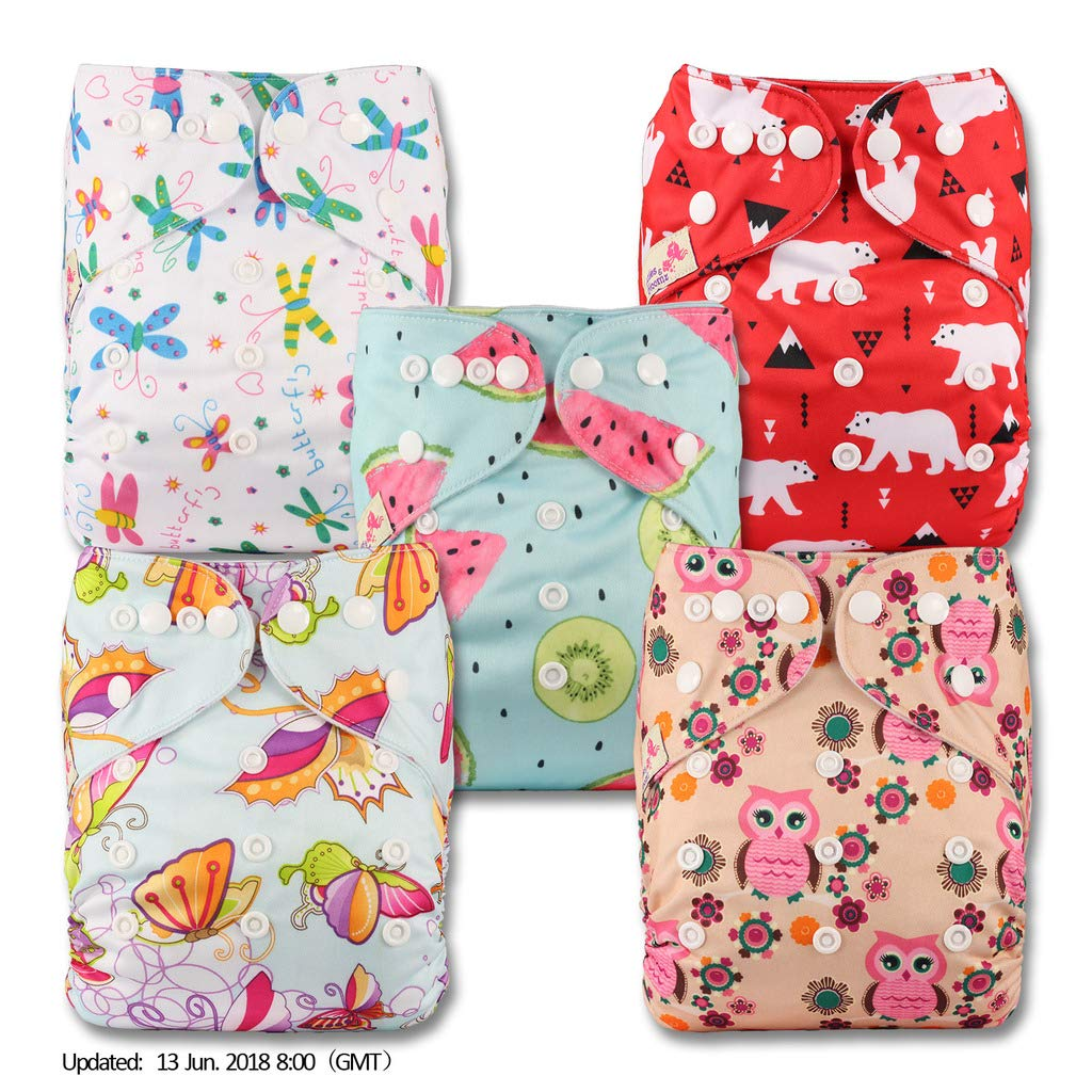Reusable Pocket Cloth Nappy Littles /& Bloomz with 5 Bamboo Inserts Fastener: Popper P504bb1