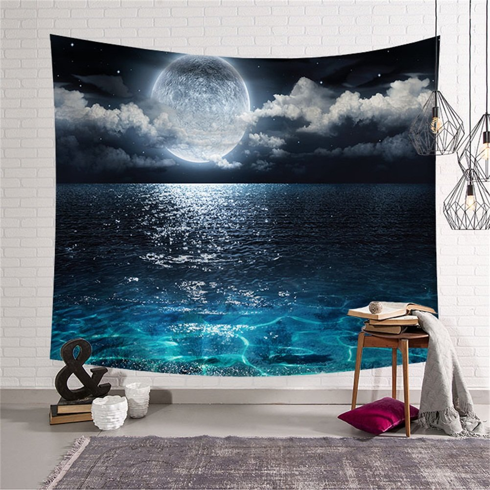 Natural Sun and Moon Tapestry Wall Hanging Hippie Celestial Energy Mystic Art Print for Window Curtain Table Cover Bedspread Beach Towel HYC44-17-S