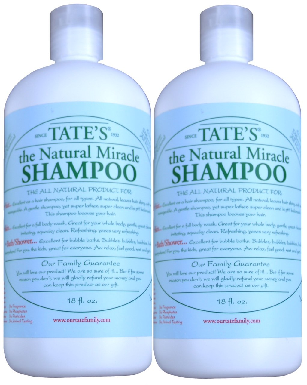 2 Tate's Natural Miracle Shampoo-18oz-/hypo-allergenic