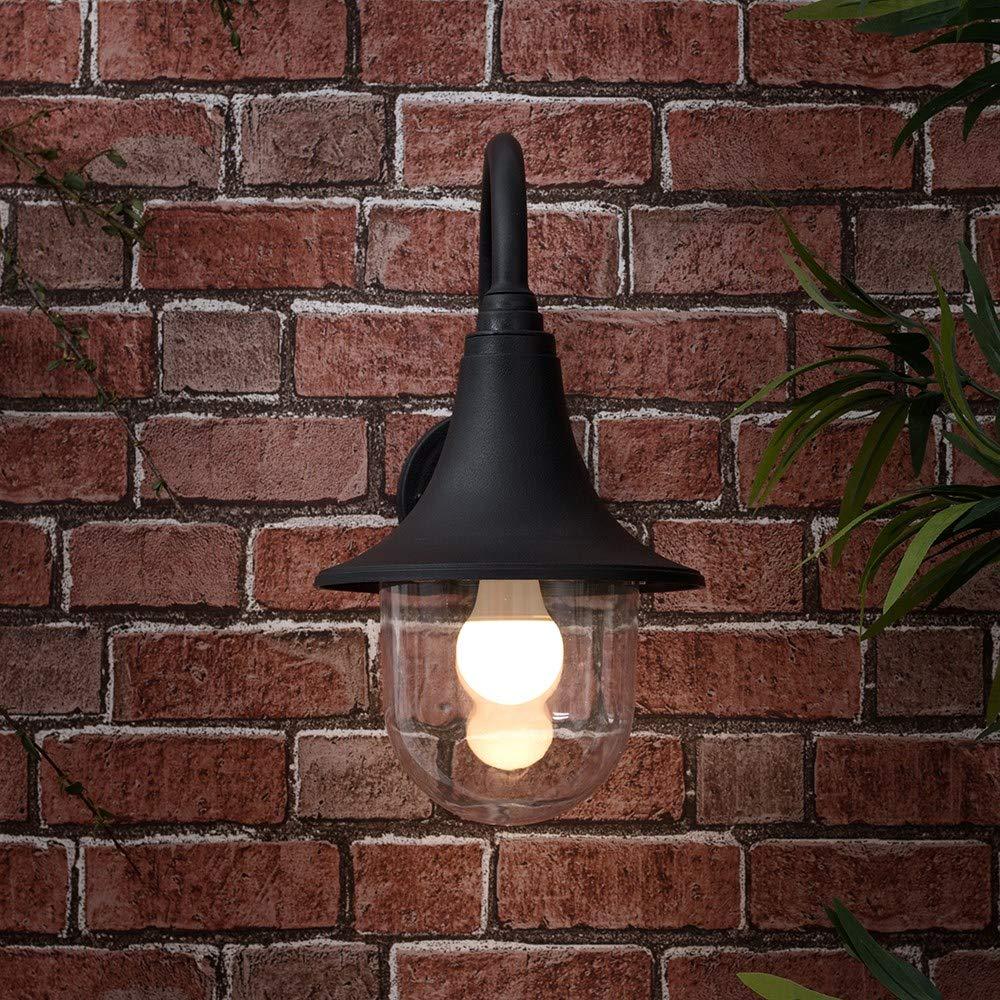 Applique Murale Pour LExt/érieur IP44 Design Classique Lanterne de P/êcheur R/ésine Noir et Globe Transparente