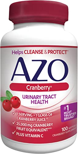 AZO Cranberry Urinary Tract Health Dietary Supplement, 1 Serving 1 Glass of Cranberry Juice, Helps Cleanse Protect the Urinary Tract, Sugar Free, Fast Acting, 100 Count