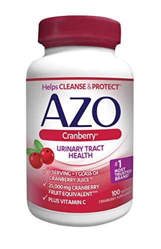 AZO Cranberry Urinary Tract Health Dietary Supplement 1 Serving 1 Glass of Cranberry Juice Helps cleanse and protect the urinary tract Fast Acting 100 Softgels