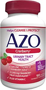 AZO Cranberry Urinary Tract Health Dietary Supplement, 1 Serving = 1 Glass of Cranberry Juice, Helps Cleanse + Protect the Urinary Tract, Sugar Free, Fast Acting,  100 Count