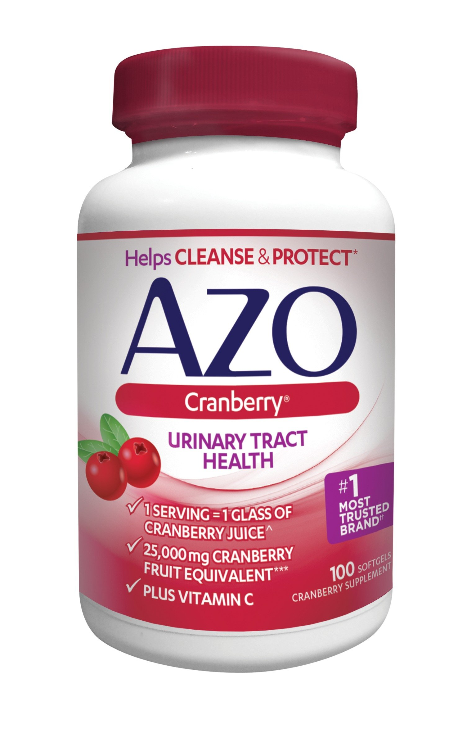 AZO Cranberry Urinary Tract Health Dietary Supplement* – 1 Serving = 1 Glass of Cranberry Juice^ - Helps Maintain Urinary Tract Cleanliness* –Plus Vitamin C - 100 Softgels