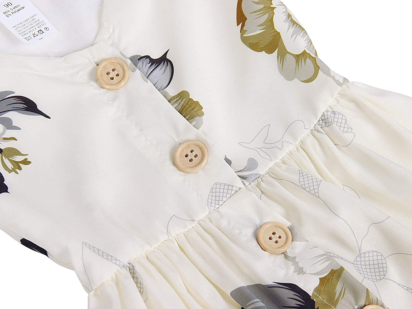 MetCuento Toddler Baby Girl Dress Floral Skirt Sleeveless Button Girls Summer Outfit Clothes 1-5 Years