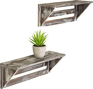 MyGift Rustic 16-Inch Torched Wood Wall-Mounted Storage Display Shelves, Set of 2