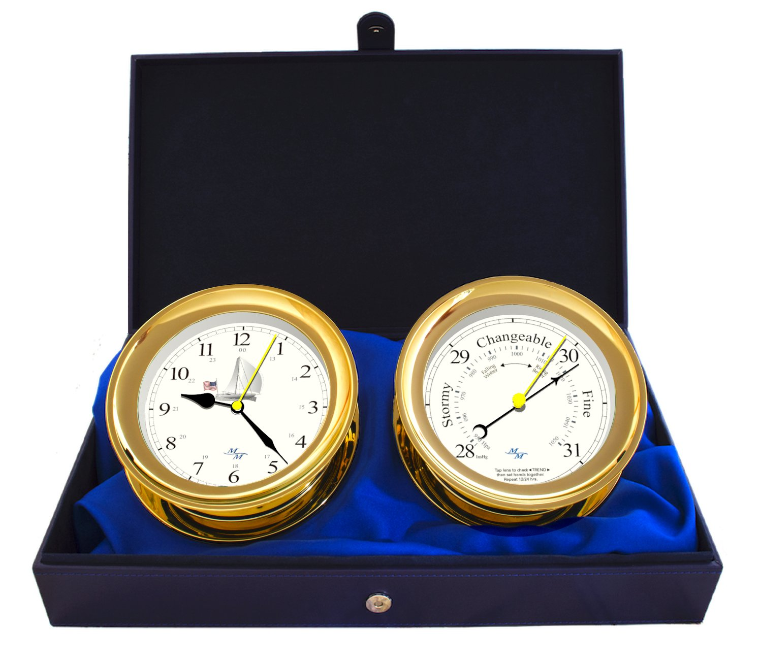 Windlass Gift Set Clock & Barometer by Master-Mariner, Gold finish, Ivory ship dial