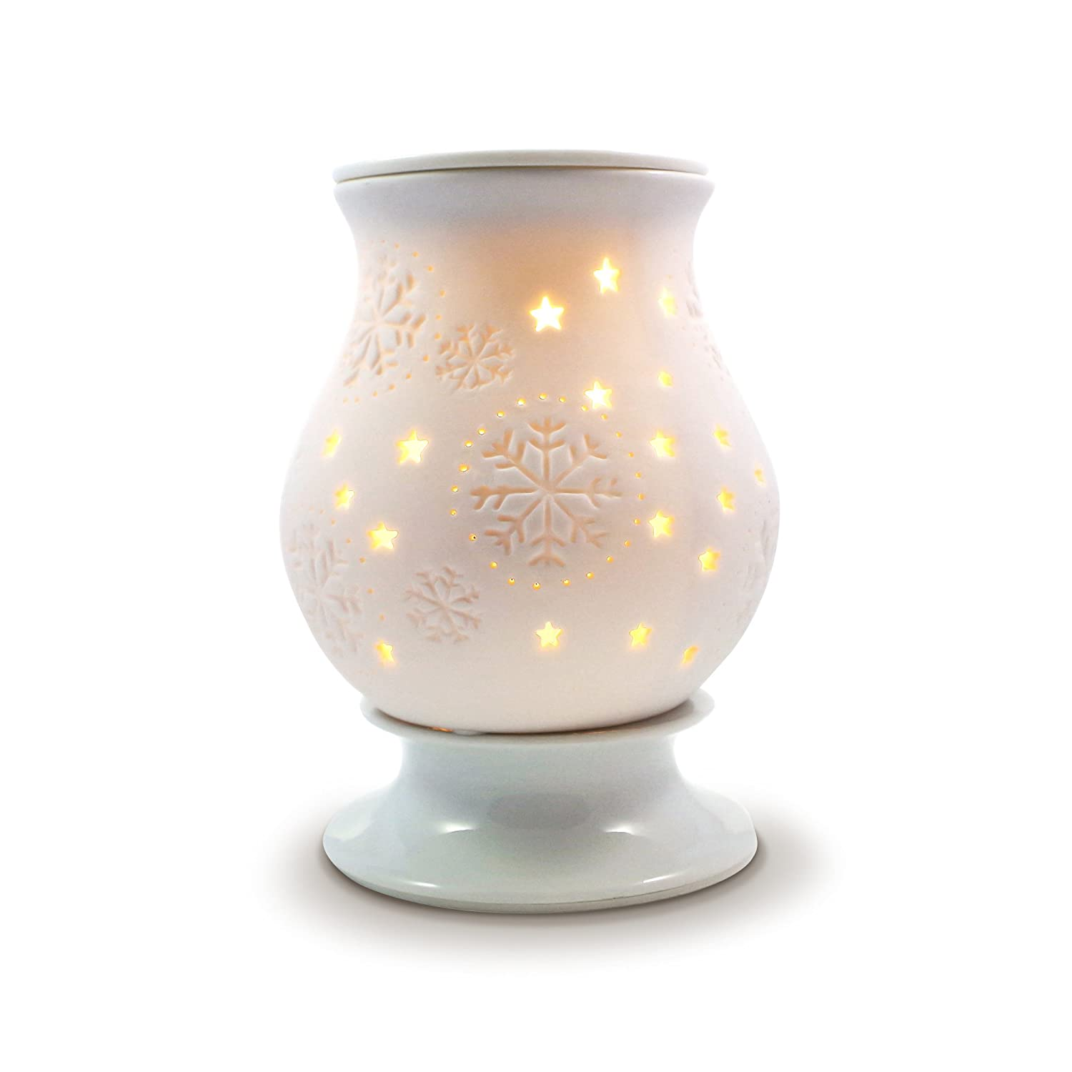 Electric wax burner - Snowflake electric wax melt warmer (wax tart burner) with light and dimmer Owlchemy Ltd snowflake (no scent)