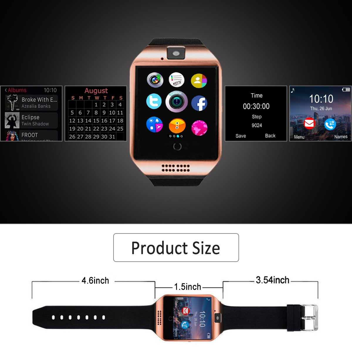 Reloj Inteligente Hombre, Smartwatch Hombre con Cámara Pantalla Táctil Ranura para Tarjeta SIM Teléfonos Inteligentes para Samsung Android Huawei iPhone 8 7 ...