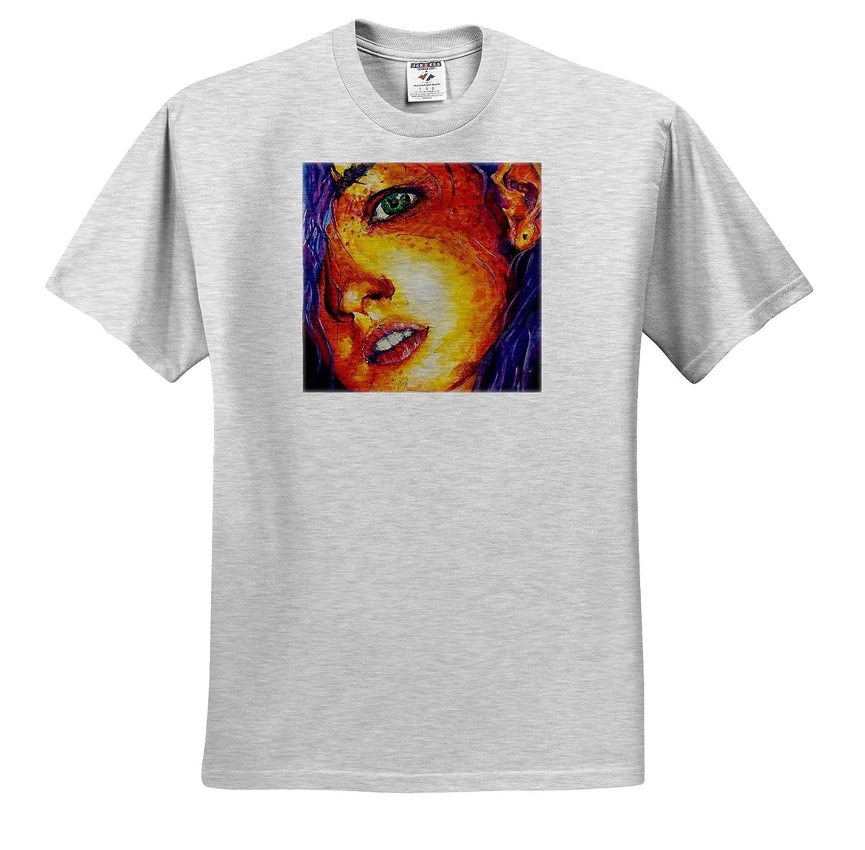 ts/_309842 3dRose ChristopherCrouchArt Portrait of Girl Watercolor Watercolor Adult T-Shirt XL