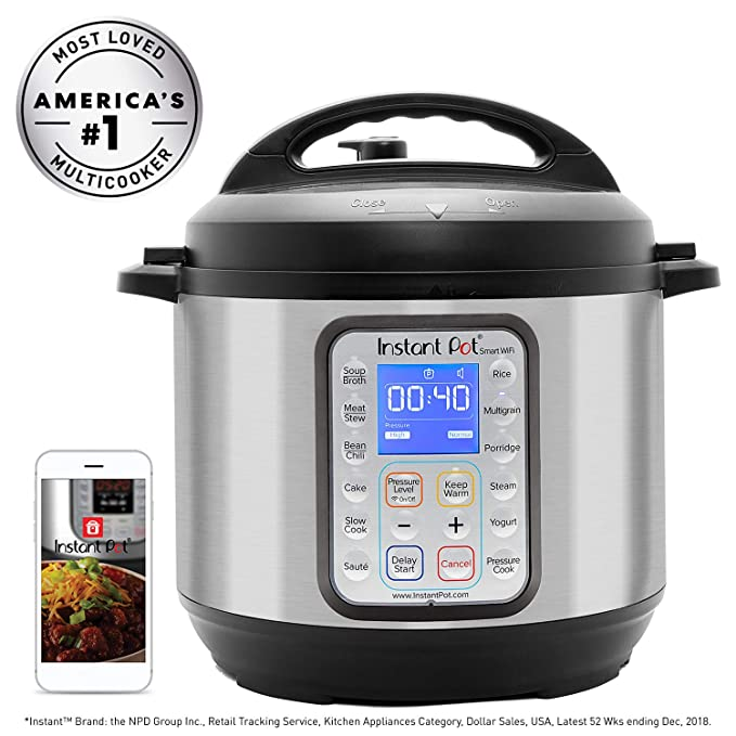 Instant Pot Smart WiFi 6 Quart Multi-use Electric Pressure, Slow, Rice Cooker, Yogurt, Cake Maker, Sauté, Steamer and Warmer, Silver best pressure cookers