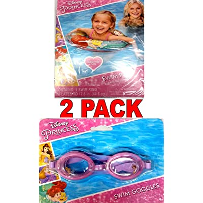 "What Kids Want Disney Princess Swim Goggles and Disney Princess Ariel, Belle, Rapunzel 17.5"" Swim Ring (2 Pack) v2: Toys & Games"