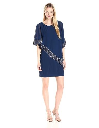 S.L. Fashions Women's Asymmetrical Foil Trim Cape Dress