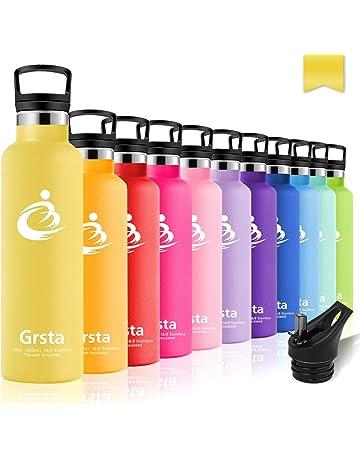 Grsta Botella de Agua para Deportes de Acero Inoxidable Doble Pared de Aislamiento al Vacío,