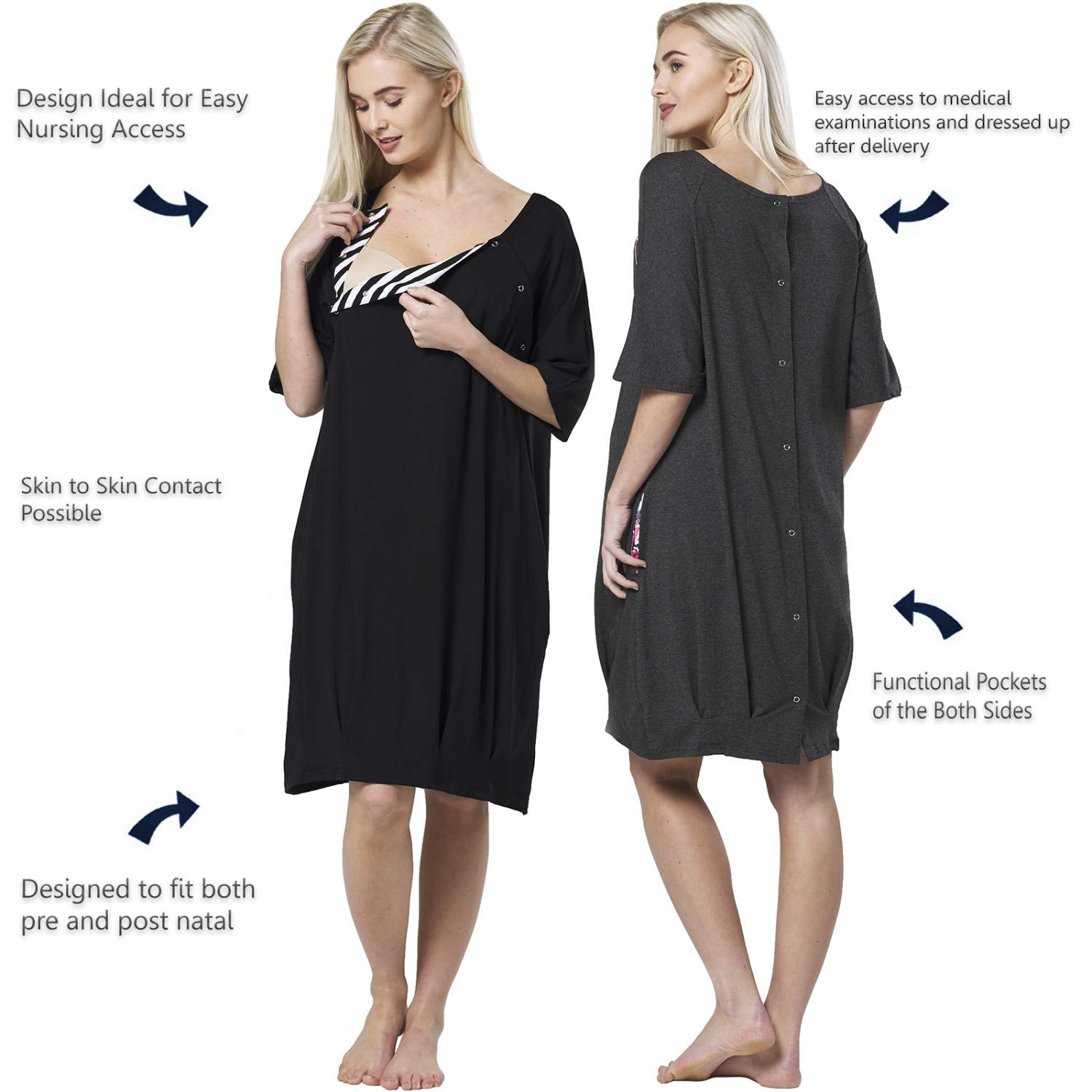 HAPPY MAMA Womens Maternity Nursing Delivery Hospital Nightshirt Cut Out 184p