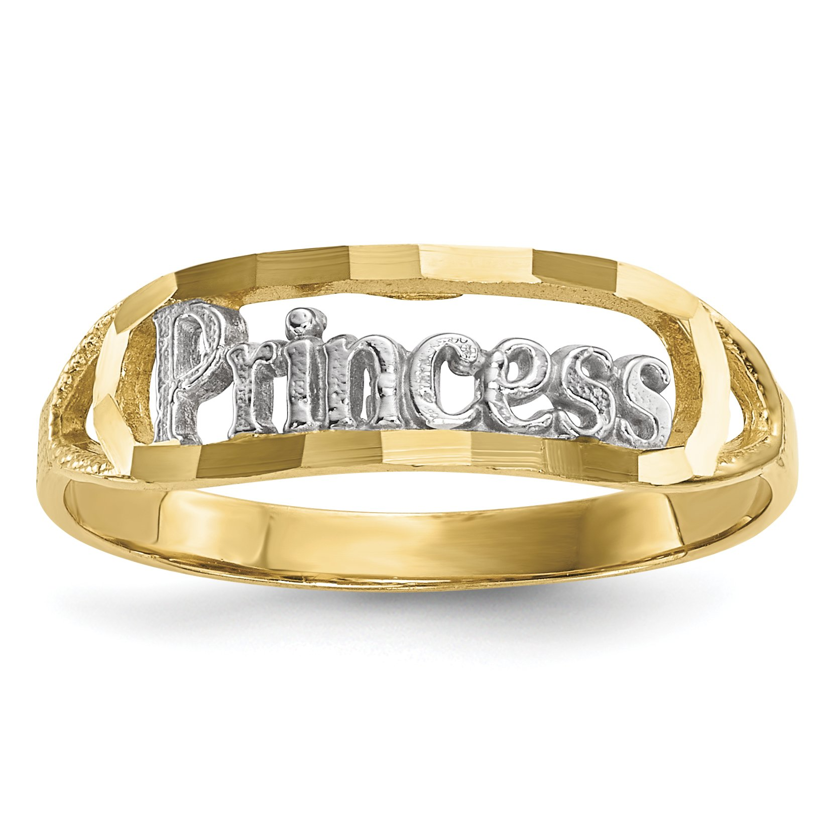 ICE CARATS 14k Yellow Gold Princess Band Ring Size 7.00 Fine Jewelry Gift Set For Women Heart