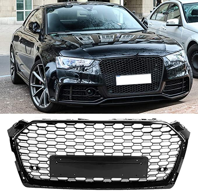Hlyjoon Hex Mesh Honeycomb Hood Grill RS7 Style Car Front Sport Hex Mesh Honeycomb Bumper Grills Gloss Black for A7 S7 2015 2016 2017