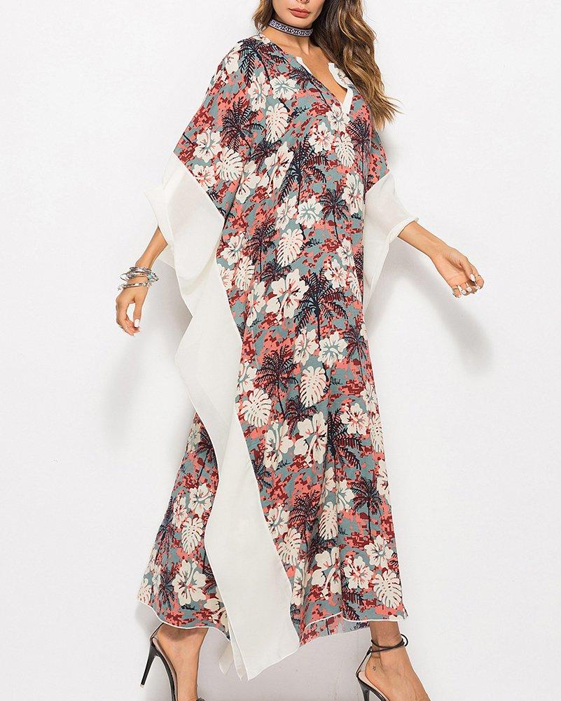 b53b9d30c535 Guiran Copricostume Mare Donna Caftano Chiffon Vestito Lungo Stampato  Costume da Bagno Bikini Abito da Spiaggia Cerimonia Come Immagine Taglia  Unica  ...