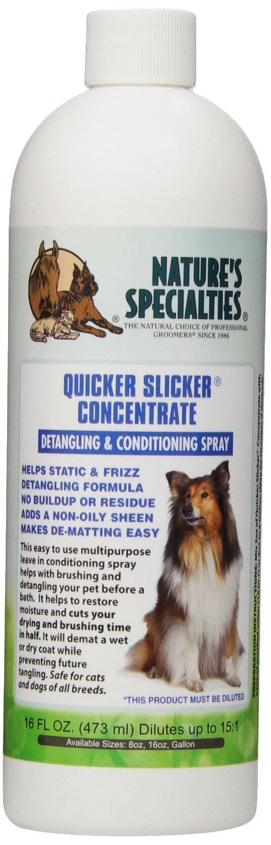 Nature's Specialties Quicker Slicker Concentrate Pet Conditioner, 16-Ounce by Nature's Specialties Mfg