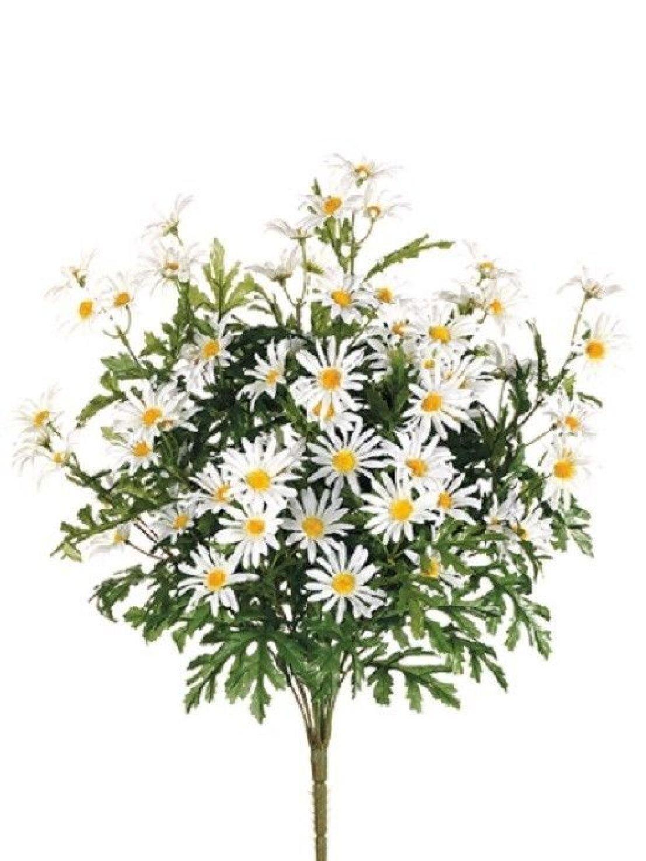 12 Artificial 24'' Farmhouse Daisy Bush White Silk Flower Bouquet Wedding Decor by Black Decor Home